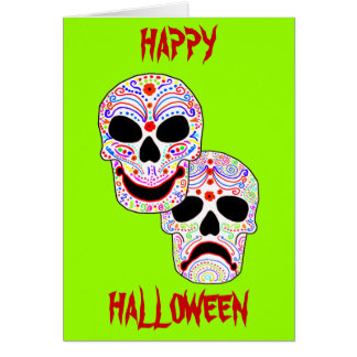 Crânes de Comédie-Tragédie de Halloween DOTD Carte