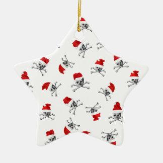 Crânes de pirate de Noël sur le blanc Ornement Étoile En Céramique