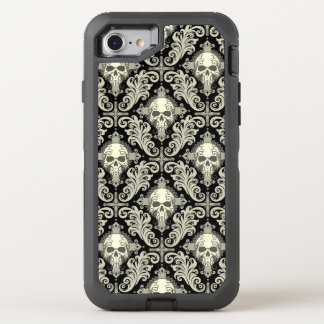 Crânes et motif de croix noir et crème de damassé coque otterbox defender pour iPhone 7