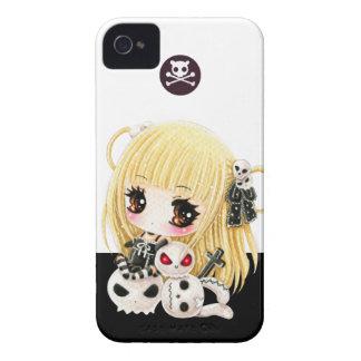 Crânes mignons de fille et de kawaii de chibi coques Case-Mate iPhone 4