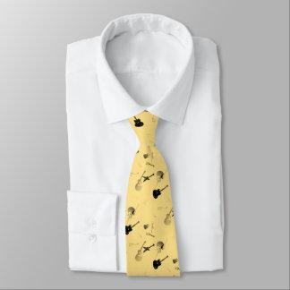 Cravate 4 de jaune de noir de roche de guitares