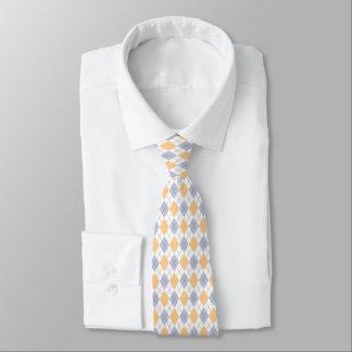 Cravate à motifs de losanges bleu et jaune beau