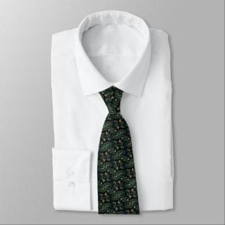 Cravate Affaires vertes et bleues de fractale de courbe