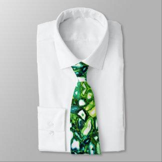 Cravate Agates vertes turquoises bleues