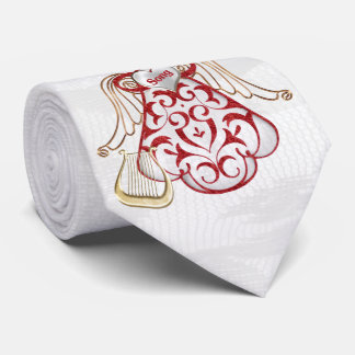 Cravate Ange rouge en filigrane et d'or de Noël de chanson