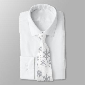 Cravate argenté de mariage d'hiver de flocons de