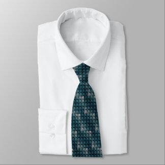 Cravate Armure turquoise et blanche de gaufre