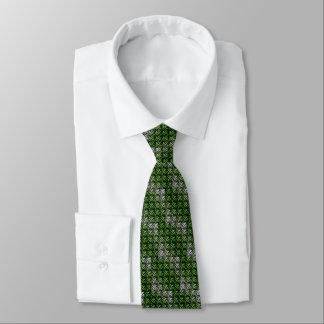 Cravate Armure verte et blanche de gaufre
