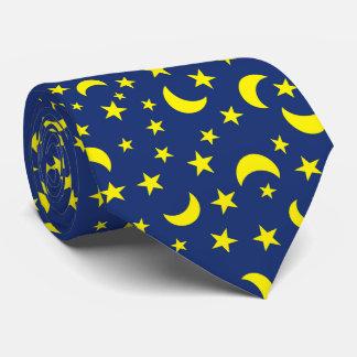 Cravate Arrière - plan de bleu de lune et d'étoiles