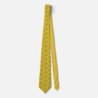 Cravate Art de jaune de moutarde de motif de feuille