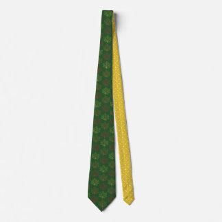 Cravate Art de moutarde de vert de motif de feuille