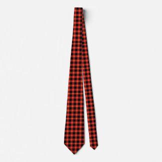 Cravate Art rouge d'automne d'automne de motif de plaid de