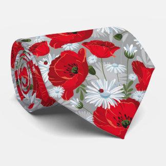 Cravate Beau pavot rouge, marguerites blanches et