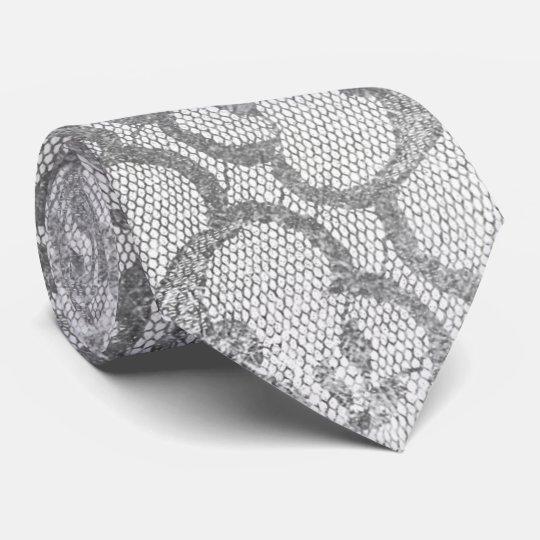 Cravate Blanc métallique gai de dentelle d'argent royal de