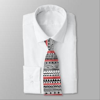 Cravate Blanc tribal de noir de variété avec le motif
