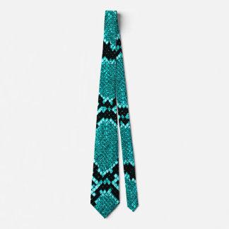 Cravate Bleu de Faux de cuir de peau de serpent de serpent