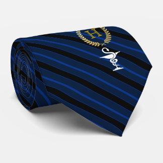 Cravate Bleu de monogramme encadré par professionnel de