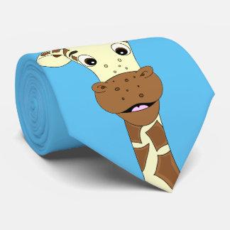 Cravate Bleu drôle de bande dessinée de girafe