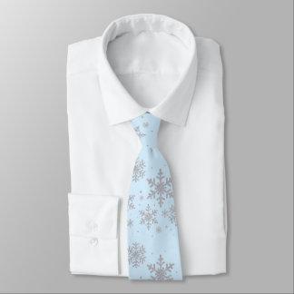 Cravate bleu et argenté de mariage d'hiver de