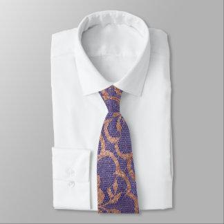 Cravate Bleu royal moderne de dentelle de poudre d'or de