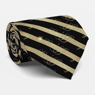 Cravate Bonnes Fêtes de scintillement ID285 de rayure d'or