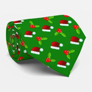 Cravate Casquettes de Père Noël et houx de Noël