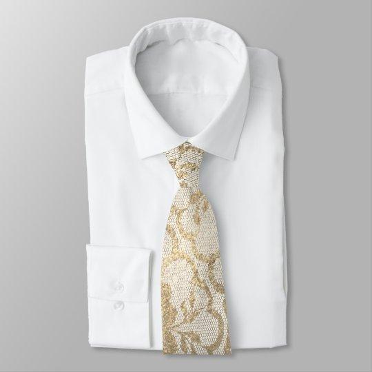 Cravate Charme blanc métallique en ivoire d'or plus rusé