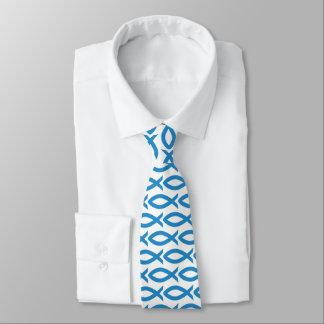 Cravate chrétienne bleue et blanche de symbole de