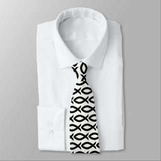 Cravate chrétienne noire et blanche de symbole de