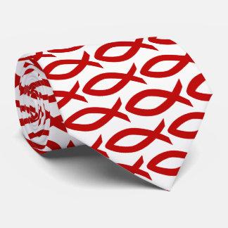 Cravate chrétienne rouge et blanche de symbole de