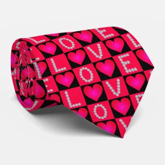 Cravate Coeurs rougeoyants Checkered de diamants d'AMOUR -