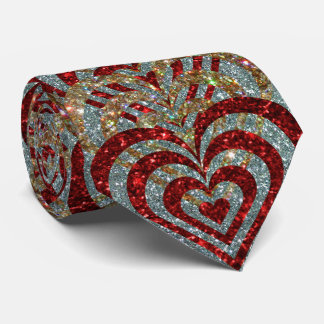 Cravate Coeurs rouges de vortex en spirale de