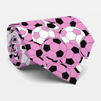 Cravate Collage rose, blanc et noir de ballon de football