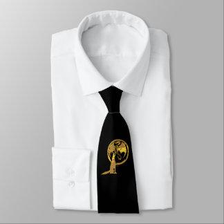 Cravate d'affaires de noir de loup et d'or de