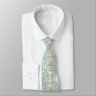 Cravate Damassé bleue et beige
