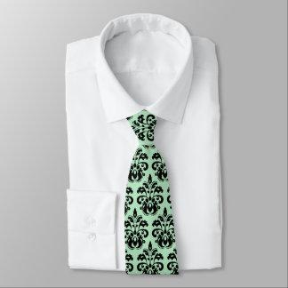 Cravate Damassé vintage élégante verte en bon état du noir