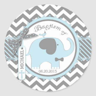 Cravate d'arc d'éléphant et baptême bleus sticker rond