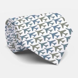 Cravate d'avion de blanc gris imprimée de la