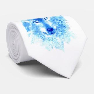 Cravate de loup d'hiver d'aquarelle