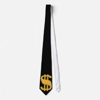 Cravate de symbole dollar de l'or 3D