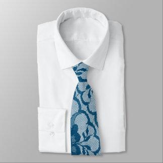 Cravate Dentelle aquatique bleue turquoise royale moderne