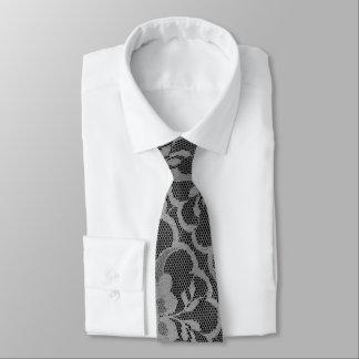 Cravate Dentelle argentée grise noire lumineuse fascinante