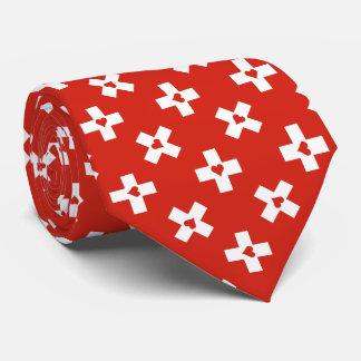 Cravate Drapeau de la Suisse avec le motif de coeur