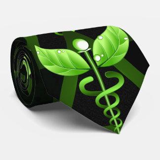 Cravate Emblème médical de médecine douce verte de caducée