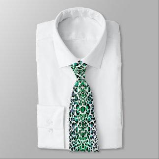 Cravate Empreinte de léopard vert turquoise