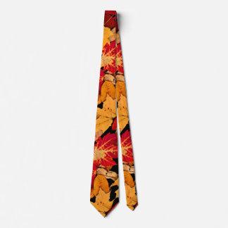 Cravate Feuillage d'automne dans Brown jaune orange rouge