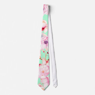 Cravate Girly rougissent floraux roses sur le vert en bon