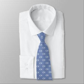 Cravate Gris bleu chrétien blanc du motif | de symbole de