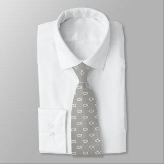 Cravate Gris chrétien blanc du motif | de symbole de