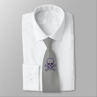 Cravate grise d'affaires d'os du crâne n (2-sided)